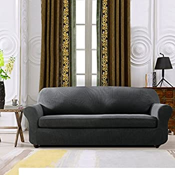 Subrtex 2 Piece Spandex Stretch Sofa Slipcover (Sofa, Gray)