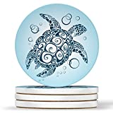 AK Wall Art Sea Turtle Ocean Beach Design Design - Round Coasters, Natural Sandstone - Set of 4