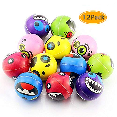 Etmact Neon Colored Smile Funny Face Stress Ball - Happy Smiley Face Stress Balls Bulk Pack of 12 Relaxable 2.5