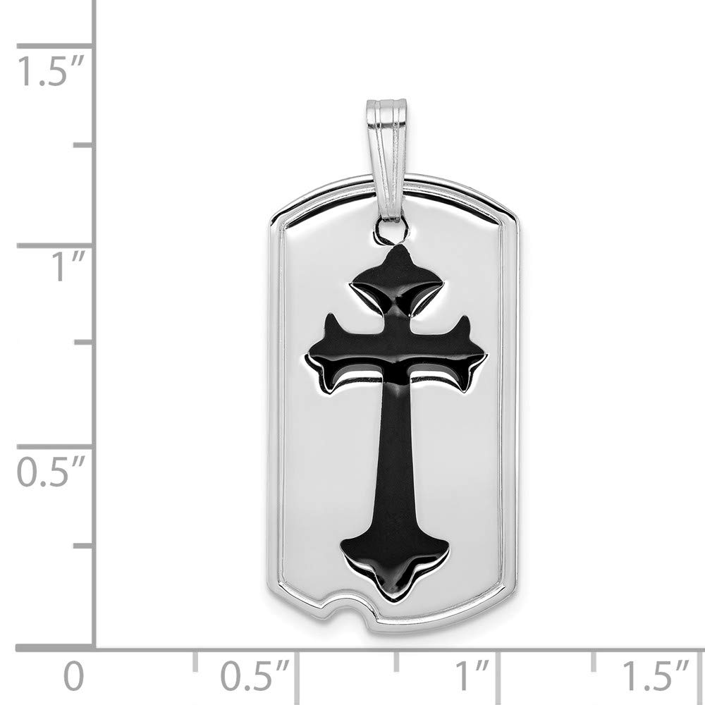 Mia Diamonds 925 Sterling Silver Solid Polished with Black Epoxy Cross Dog Tag Pendant 38mm x 16mm