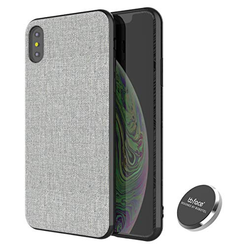 iPhone Xs MAX Magnetic Case,Full-Edge Protection Shock Absorption and Built in Magnet Protective Hard Shell with Textured Fabric Case Slim Fit Shockproof Magnetic Back for iPhone Xs MAX Case (Gray)