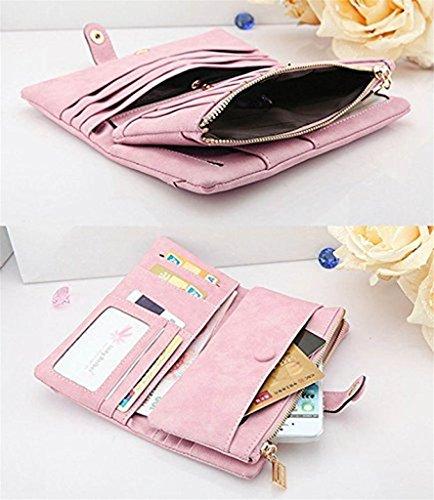 Moda Billetera de mujer Gran capacidad de cuero larga Cartera Monedero Bolso de la se?ora rosado