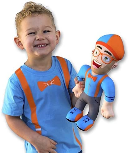 13 inch Blippi Plush Figure Toy Soft Stuffed Doll glasses Kids Gift Educational