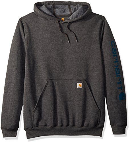 Carhartt Men's Midweight Signature Sleeve Logo Hooded Sweatshirt K288, Carborn Heather/Stream Blue, X-Large