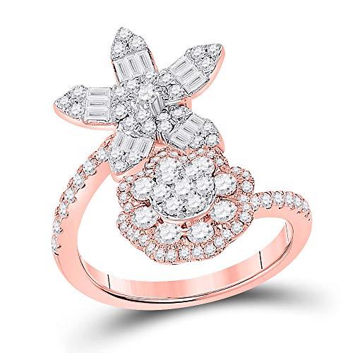 14kt Rose Gold Womens Baguette Diamond Bypass Flower Cocktail Ring 1-1/3 Cttw Ring Size 7