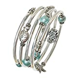 """Best Seller """"Pearl of the Sea"""" Silver Slinky Wrap Bracelet with Sea Foam Beads - Handmade in USA, Expandable, Fits any wrist"""