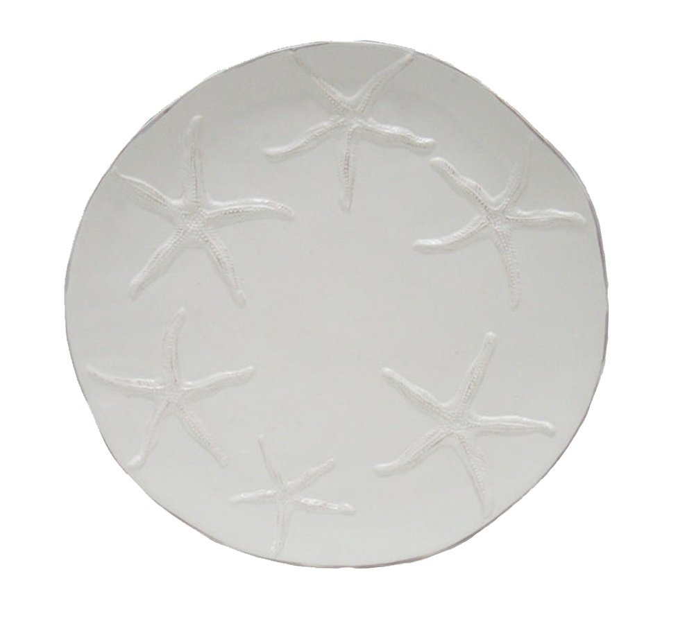 Blue Sky Ceramic Starfish Salad Plate, 8'' x 8'' x 0.75'', White by Blue Sky Ceramic