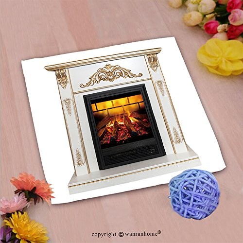 VROSELV Custom Cotton Microfiber Ultra Soft Hand Towel-white artificial fireplace isolated on white background Custom pattern of household products(20''x20'') by VROSELV