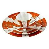 Bone China Ceramic 4-Piece Chinese Auspicious Patterns Dinnerware Set,Brave Troops,Magpie,Paddy,Orange