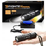 Brightex XR-1100 Pro Kit REAL Lab Tested 1100 Lumens Super Bright Small Tactical Flashlight US Made LED, Water Resistant, 5 Light Modes, Zoom, Belt Clip, Fast Charger, 2200mAh 18650 Protected Battery