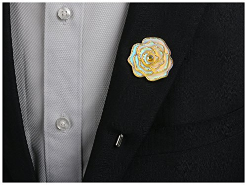 Landisun Men's Lapel Pin Flower Boutonniere Set Handmade For Suits (4 Pcs,Style 41) Lapel Womens Pins