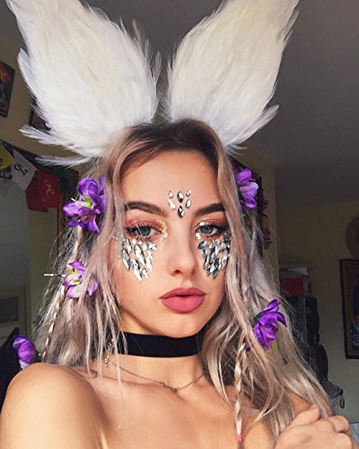 6 Sets Women Mermaid Face Gems Glitter,Rhinestone Rave Festival Face Jewels,Bindi Crystals Face Stickers, Eyes Face Body Temporary Tattoos for Music Festivals Vibe Bohemian Coachella by Diva Woo (Image #3)