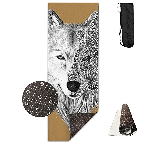 Jessent Yoga Mat Non Slip Wolf Head Printed 24 X 71 Inches Premium For Fitness Exercise Pilates With Carrying -