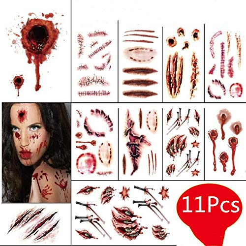 11 Pcs Halloween Temporary Scar Tattoos Sticker Horror Realistic Fake Bloody Wound Makeup Masquerade Cosplay Zombies Party Supplies Decor Prank -