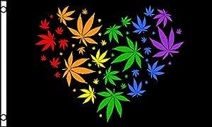 Hoja de Marihuana–bandera de arco iris corazón 5'x3'