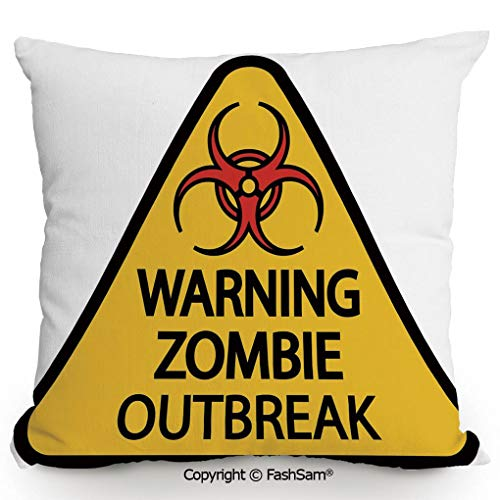 FashSam Decorative Throw Pillow Cover Warning Zombie Outbreak Sign Cemetery Infection Halloween Graphic Decorative for Pillow Cover for Living Room(20