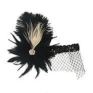 Homyl Vintage Black Plume Headband With Veil Wedding Flapper Hair Dress-up Accessories