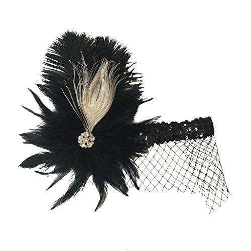 Homyl Vintage Black Plume Headband With Veil Wedding Flapper Hair Dress-up Accessories -