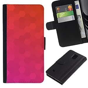 Planetar® Modelo colorido cuero carpeta tirón caso cubierta piel Holster Funda protección Para Samsung Galaxy Note 4 IV ( Polígono Rosa Naranja Modelo púrpura )