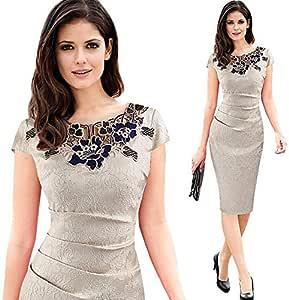 Beige Mixed Workwear Dress For Women