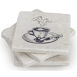 Coffee Table Decor Marble Coaster Set of 4