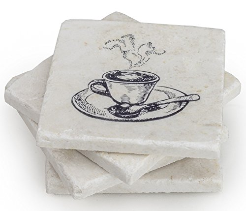 Coffee Table Decor Marble Coaster - Set of 4 For Your Kitchen, Dining, or Glass Table