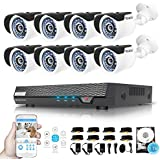 TECBOX Security Camera System 720P 8CH 1TB Security DVR System with 8 1.3mp Security Cameras Weatherproof CCTV Security Video System Remote View Surveillance Camera System