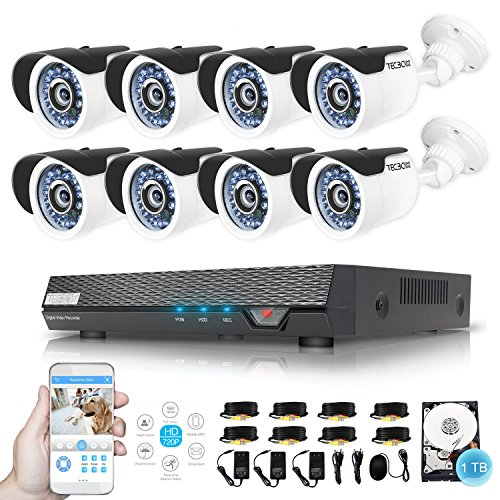 Dvr Complete System (TECBOX Security Camera System 720P 8CH 1TB Security DVR System with 8 1.3mp Security Cameras Weatherproof CCTV Security Video System Remote View Surveillance Camera System)