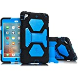 AMEISEYE Kids Case for iPad Mini 1 2 3 Full Body Protective Silicone Cover with Screen Protector Resistant Shockproof Scratchproof & Adjustable Kickstand for Apple iPad Mini 1/2/3 Case (Black/Blue)