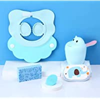 Baby Bath Cap Set Shampoo Shield Visor Shower Protection for Baby Child Eyes Ears Safe and Fun Bath time (Blue)