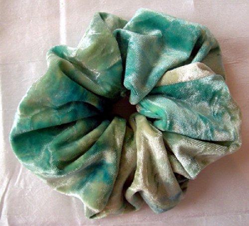 Aqua Tie-Dye Velvet Hair Scrunchy-Large