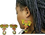 BUNFIREs Wood Earrings Natural Hair Light weight wood Woman earrings AFRICAN ELEPHANT Dangle Hand Painted Carved Wooden (Xmas Elephant)