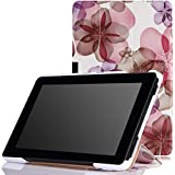 MoKo Case for Fire HD 7 2014 - Ultra Slim Lightweight Smart-shell Cover with Auto Wake / Sleep for Amazon Kindle Fire HD 7 Inch 4th Generation Tablet (Not Fits HD 7 2015), Floral PURPLE