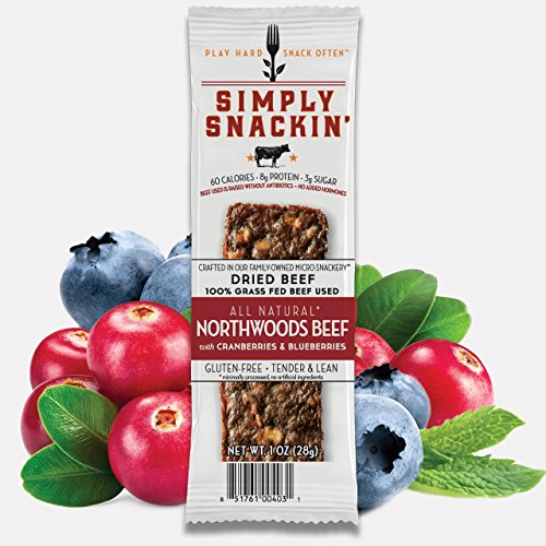 Simply Snackin - NORTHWOODS Beef with Cranberries & Blueberries 12 (Northwoods Cranberries)