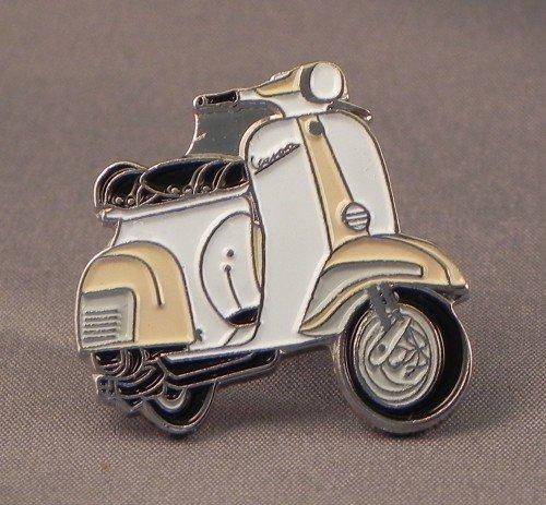 Mainly Metal Broche en métal émaillé Motif scooter Vespa Beige/blanc