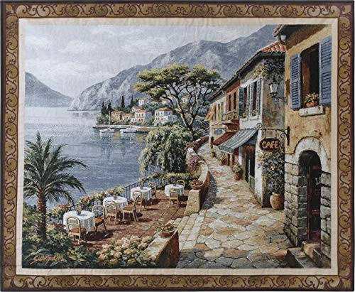 - Overlook Cafe II by Sung Kim | Woven Tapestry Wall Art Hanging | Classic Mediterranean Village Coastal Cobblestone Walkway | 100% Cotton USA Size 53x44