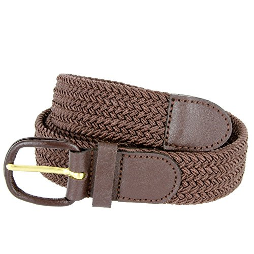 Men's Elastic Braided Stretch Belt (Brown,S)