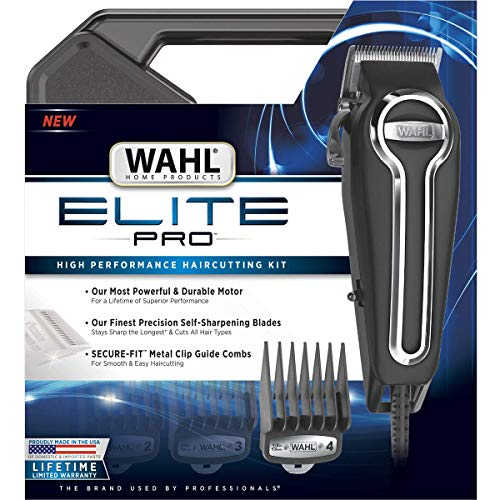 Clipper Elite Pro High Performance Haircut Kit for men with Hair Clippers, Secure fit guide combs with stainless steel clips By The Brand used by Professionals. #79602