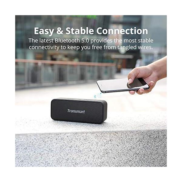 Enceinte Bluetooth Portable, Tronsmart T2 Plus Haut-Parleur sans Fil Extérieur Speaker 20W Bass e Audio Puissant, Speaker Bluetooth 5.0, Autonomie 24H, Étanche IPX7,TWS, Assistant Vocal 6