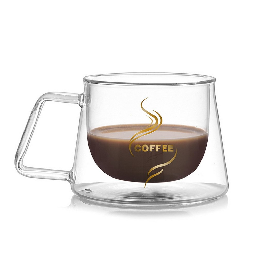 JuneJour Double Wall Glass Cup Coffee Mug with Handle 200ml for Tea and Coffee starsday