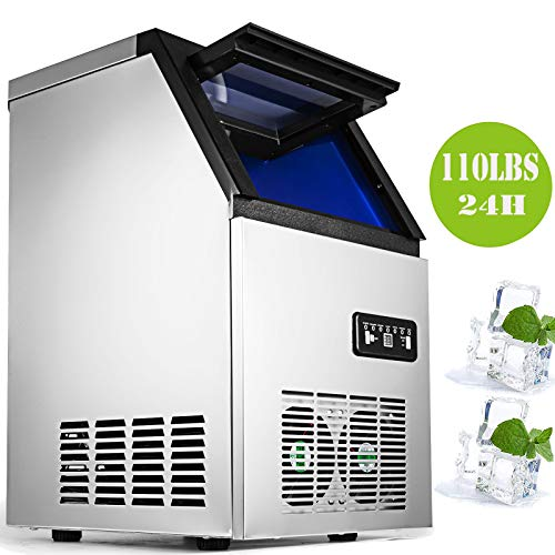Happybuy Commercial Ice Maker 110LBs with 29LBs Storage Capacity Ice Maker Machine Stainless Steel Portable Automatic Ice Machine Perfect for Restaurants Bars Cafe with Scoop and Connection Hoses