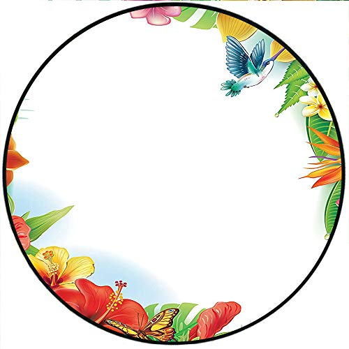 (Short Plush Baby Crawling mats Hummingbirds Tropical Flowers and Leaves Natural Foliage Vibrant Color Exotic Rainforest Floor playmats Children's Room 31.5