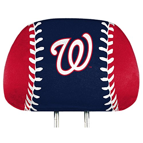 (ProMark Washington Nationals Printed Full Color 2-Pack Head Rest Covers Elastic Auto Baseball)