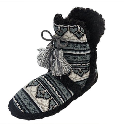 Gohom Womens Warm Winter Indoor Slipper Boots House Breien Zwart