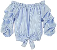 Fepege Little Girls Off Shoulder Long Sleeve Stripes T Shirts Crop Tops Blouse Summer Outfits