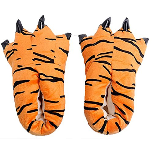 DNggAND Unisex Soft Paw Claw Home Slippers Animal Costume Shoes (L fits US Size 7-10, Tiger)