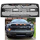 For 2009-2014 Ford F-150 Grille Grill Matte BLACK SPORT Front Bumper Hood W F&R LED