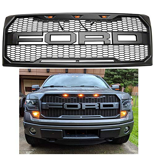 For 2009-2014 Ford F-150 Grille Grill Matte BLACK SPORT Fron