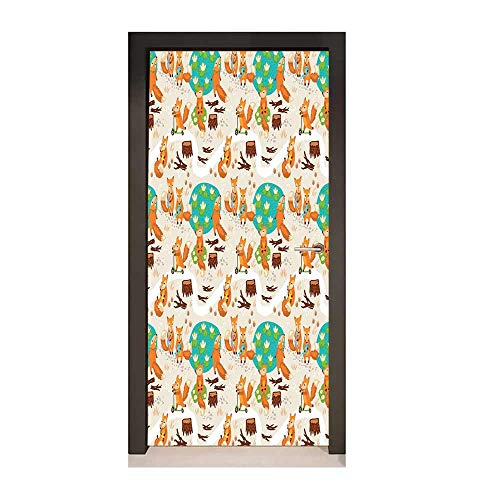 (Baby 3D Door Wallpaper Cute Little Foxes Playing Next to Ponds Forest Tree Trunks Catching Fish Having Fun Art Door Decals Multicolor,W23.6xH78.7)