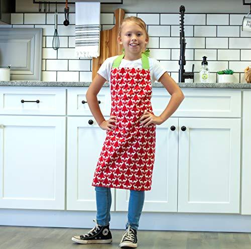 Handmade Red Reindeer Art or Kitchen Apron for Girl